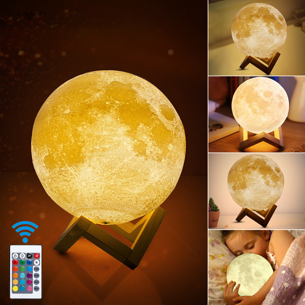 3D Print Moon Lamp Colorful Change Usb  Creative Led Night Light For Home Decor