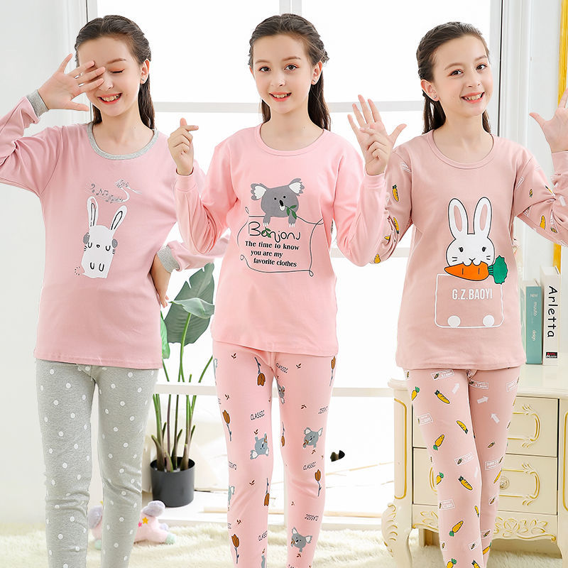 Teens Pajamas Long Sleeve Cotton Pyjamas Kids Clothes Sets Cartoon Big Boy Sleepwear Cute Pajamas For Girls 10 12 14 16 18 Years