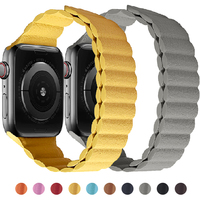 Leather link loop Magnetic strap For apple watch band 44mm 40mm iWatch series 6 SE 5 4 3 2 1 watchbands bracelet 42mm 38mm 1
