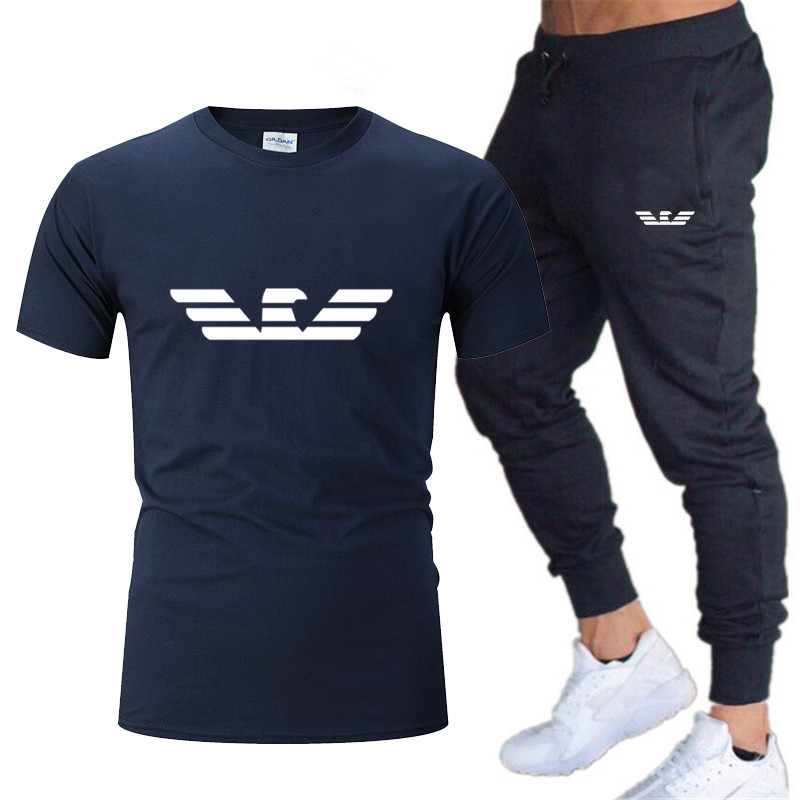 Fashion New Men's Sportswear Running Jogging Men's Running Fitness Clothes Men's Fitness Sports 2020 Brand Sports Two-piece Suit