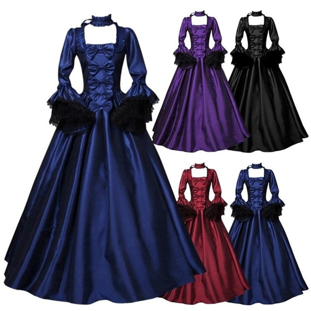 Hot Selling Lace Joint Large Bell Sleeve Medieval Dress Palace Retro Europe And America