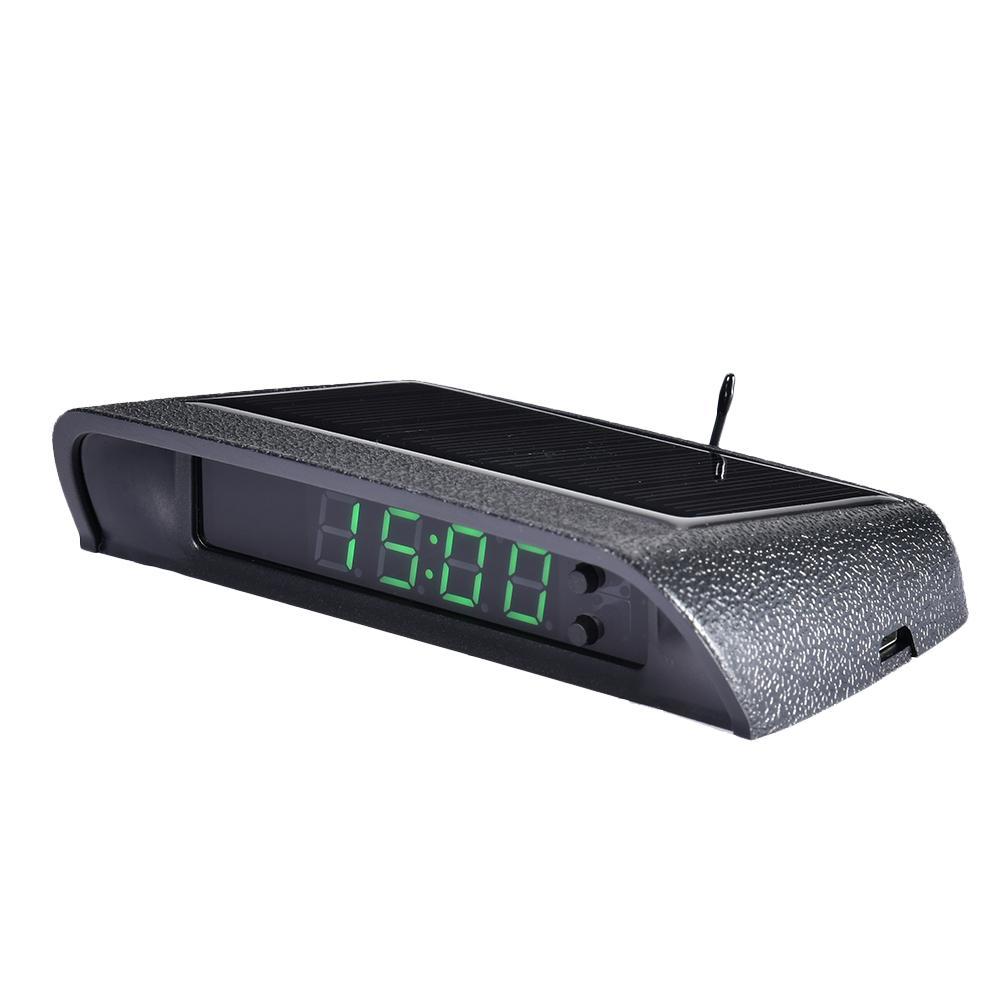 Car Clock Auto Internal Stick-On Digital Watch Solar Powered 24-Hour Car Clock With Built-in Battery Car Decoration