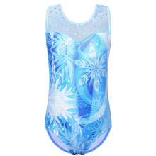 BAOHULU Little Girls Sparkle Gymnastics Leotard Blue Snowflake Ballet Leotard Sleeveless Ballet Class Practice Dance Tights dora the explorer little girls ballet dance pajama set