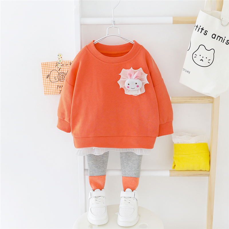 HYLKIDHUOSE 2020 Spring Baby Girls Boys Clothes Sets Rabbit Lace T Shirt Pants Toddler Infant Clothes Child Vacation Costume