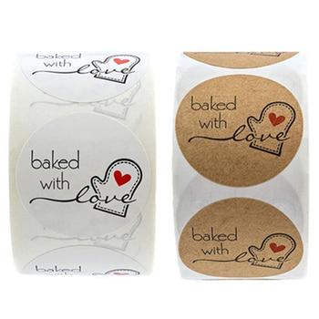 500 Uds./rollo de pegatinas Kraft naturales horneadas con amor pegatinas decoración etiquetas pegatinas hechas a mano DIY etiquetas de regalo de Navidad