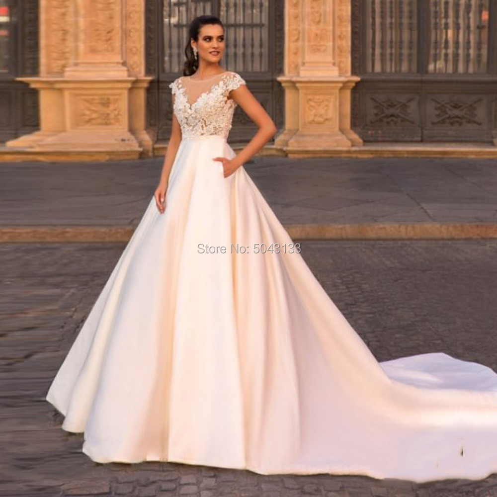 Elegant Scoop Ball Gown Satin Wedding Dresses Lace Appliques Cap Sleeve Court Train Bridal Gowns 2020 Bride Dress With Pockets