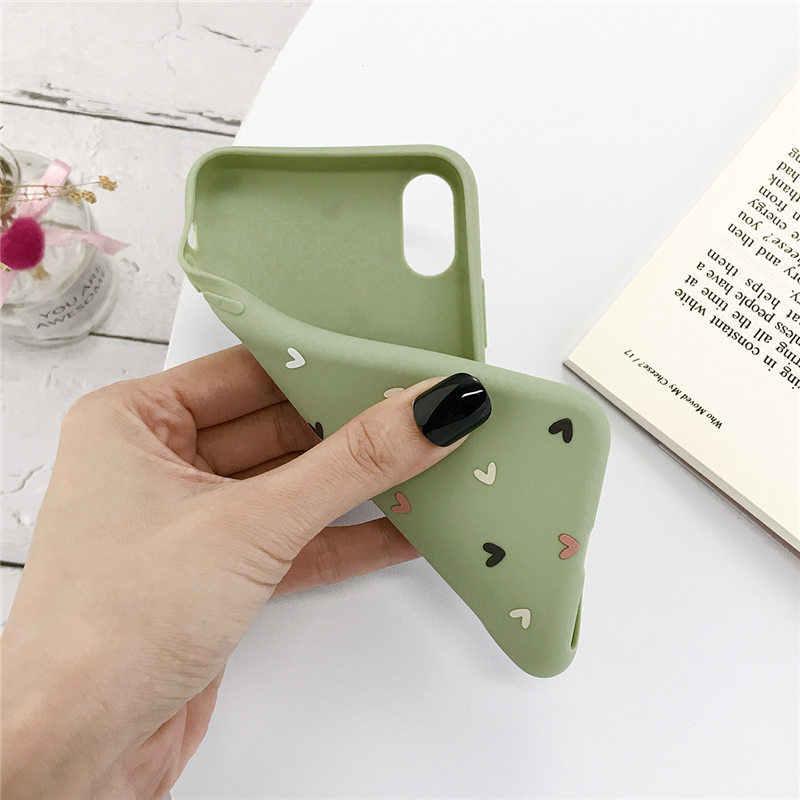 Lovebay funda de silicona de teléfono con corazón de amor para iPhone 11 Pro X XR XS Max 7 7 6 6s Plus 5 5S SE Color caramelo Shell funda trasera suave TPU