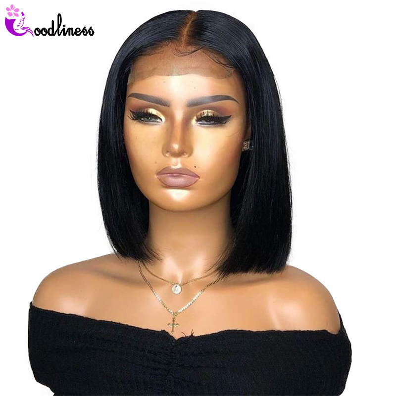 Glueless 13x4 Tansparent HD Lace Frontal Wig Pre Plucked Short Bob Wig Brazilian Straight Black Lace Front Human Hair Wigs Remy