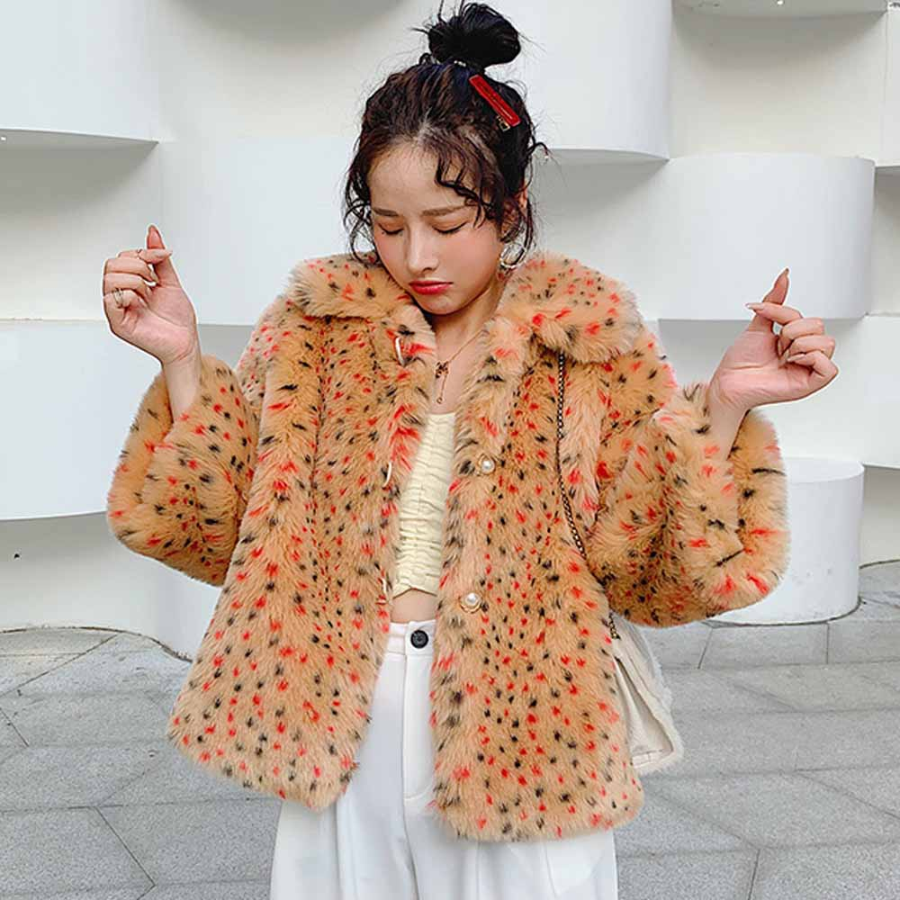 ANSFX Stylish Lapel Hairy Shaggy Colorful Orange Faux Leopard Fur Coat Nine Quarter Sleeve Furry Faux Fur Jacket Outerwear Tops