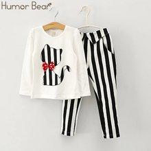 Осенняя одежда humor bear для маленьких девочек футболка с длинным