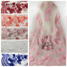 1yard 6 colors can choose flower polyester embroidery mesh tulle lace fabric diy high-end evening dress wedding