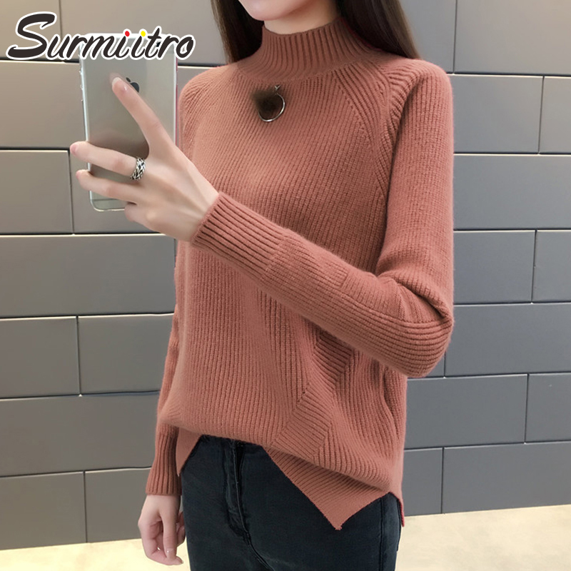 Surmiitro Korean Knitted Sweater Women Turtleneck 2019 Autumn Winter Warm Ladies Long Sleeve Jumper Tricot Pullover Female