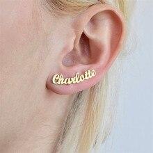 Personalized Custom Name Earrings For Women Stainless Steel Initial Cursive Nameplate1 Pair Stud Earring Gift Best Friend