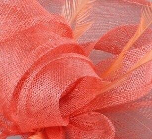 Шампань millinery sinamay вуалетки с перьями свадебные головные уборы Коктейльные Вечерние головные уборы Новое поступление Высокое качество 20 цветов - Цвет: Кораллово-Красный