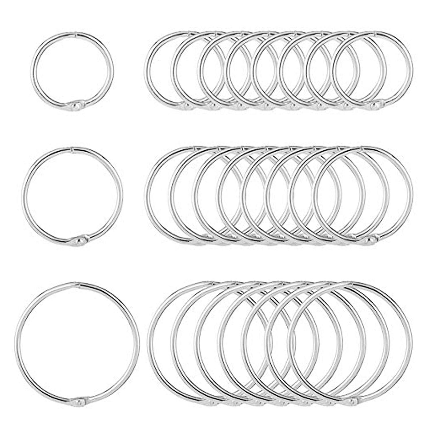 150PCS Assorted Sizes Metal Loose Book Rings Keychain for Memo Diary Scrapbooks Photo Albums Class Notes Documents 20/30/40mm