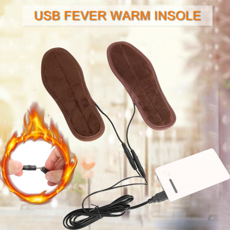 Unisex Men Women USB Electric Powered Comfortable Soft Heated Insoles For Outdoor Sports Shoes Boots Feet Warmer 3Heating Method