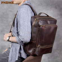 PNDME high quality crazy horse cowhide men's casual backpack simple cintage genuine leather travel bagpack brown laptop bookbags