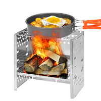 Wood Stove Camping Stove Picnic BBQ Cooker Folding Stainless Steel Backpacking Stove Wood Stove Burner