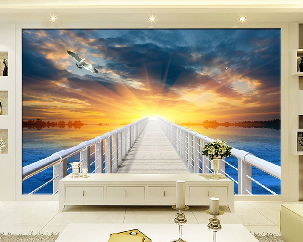 Dropship Wallpaper 3D Custom Mural Beach Sunset Promenade Landscape Living Room TV Background Wall Painting Bedroom Mural