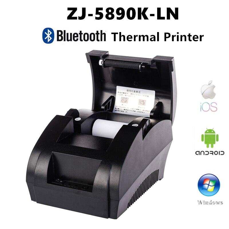 Pos 58mm bill impressora de recibos térmica bluetooth porta usb bilhete móvel restaurante e supermercado suporte gaveta dinheiro