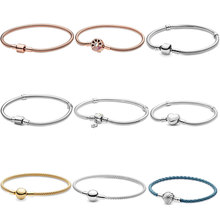 Best Sale 925 Sterling Silver Bracelet Rose Golden Color Daisy Flower Barrel Clasp Snake Chain Bracelet Women Jewelry