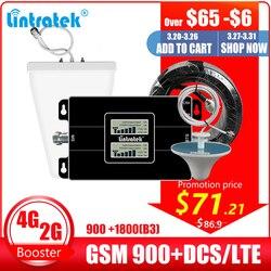 Lintratek rússia gsm 900 4g lte 1800 repetidor gsm 1800mhz móvel sinal impulsionador dcs dupla faixa celular amplificador 3g 4g antena
