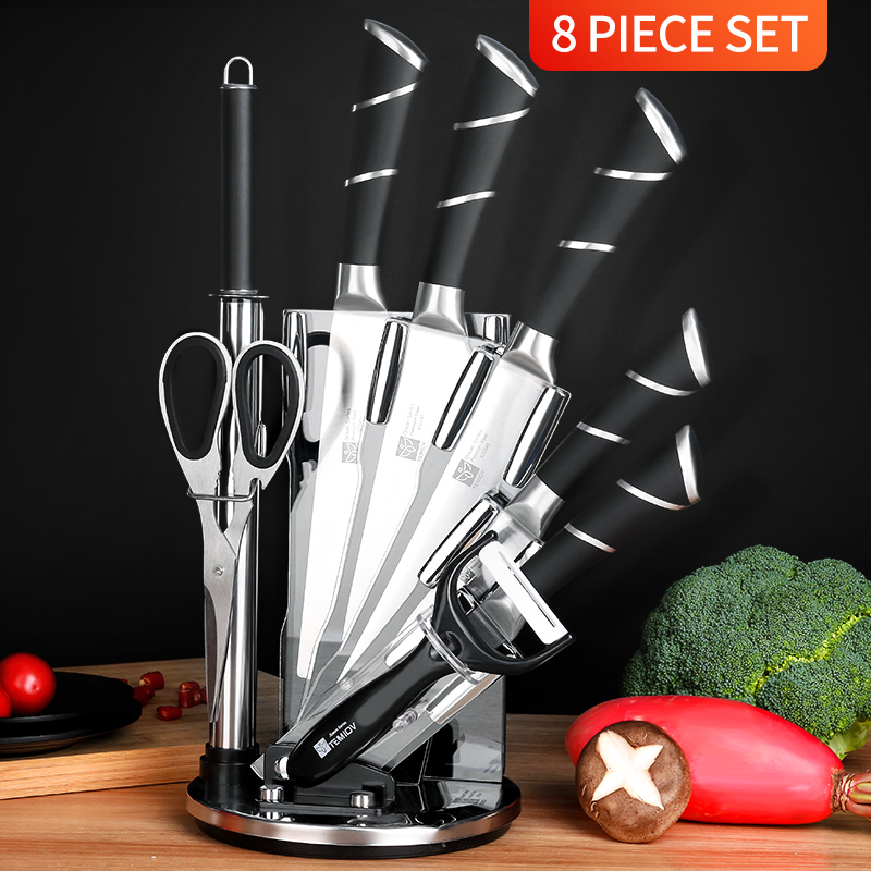 Shipping Now 8 In 1 Kitchen Knives Chefs Knife Bread Utility Paring Cleaver Knifes Set Stainless Steel Blade Sharpener Peeler