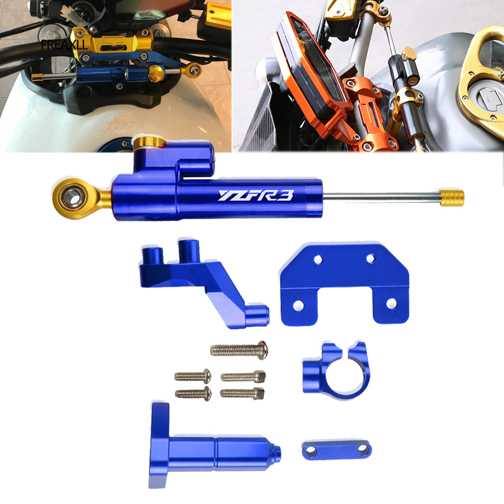 For <font><b>YAMAHA</b></font> YZF R3 YZFR-R3 R25 MT03 <font><b>MT25</b></font> 2014 2015 2016 2017 CNC Motorcycle Steering Stabilize Damper Bracket Support Mount Kit image