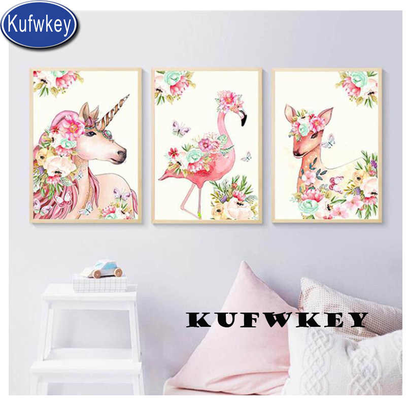 "3 pcs diamond embroidery""unicorn/Flamingo/deer""full drill mosaic diamonds square daimond painting diamant picture Nursery decor"