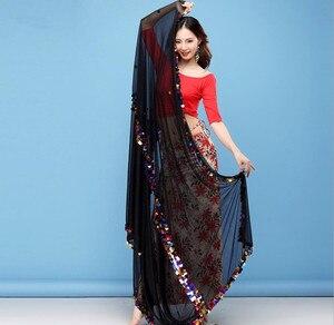 Image 4 - Kobiety taniec brzucha szalik Malaya duży rozmiar rzucony szaliki Sequine zdobione połysk rekwizyty sceniczne czarne czerwone welony