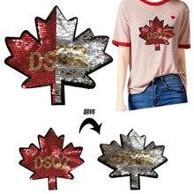 Pailletten patch maple leaf Muster für DIY kleidung patches für Nähen-auf/Eisen Auf bestickt applique verwendet in t-shirts und denim jack