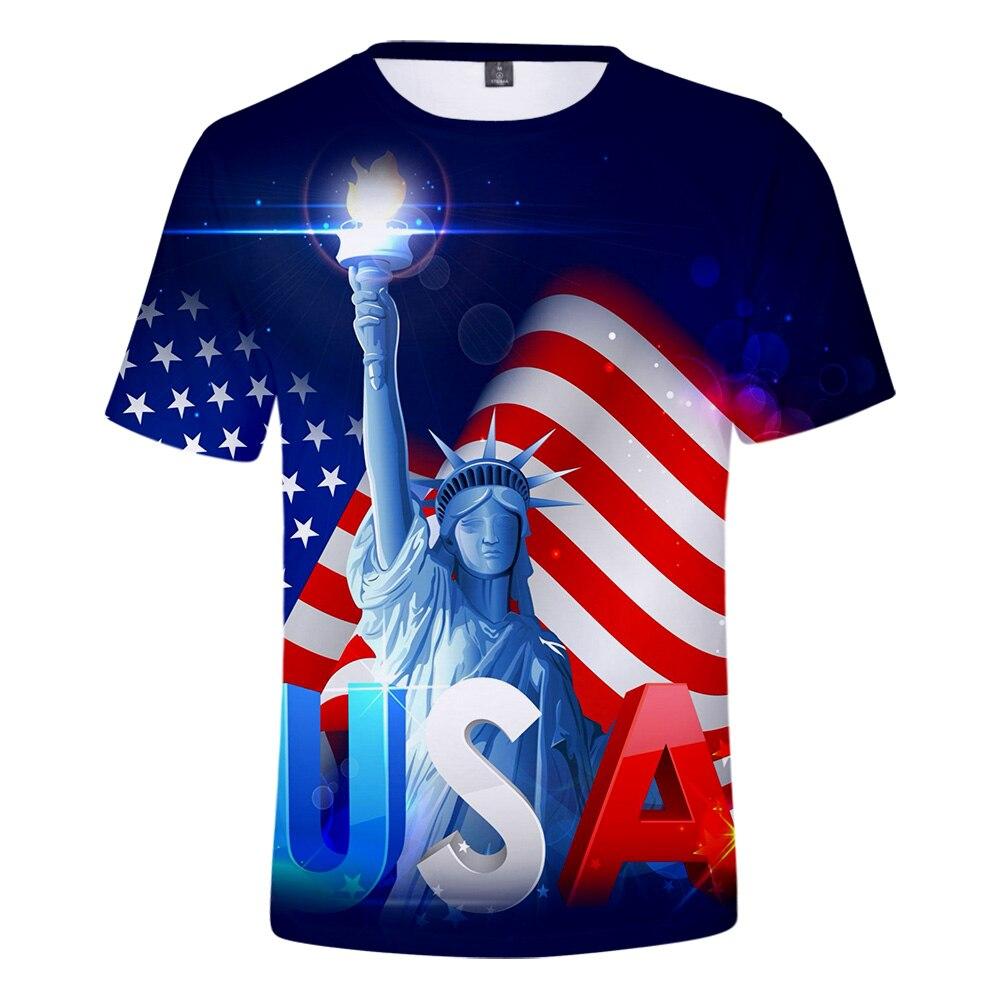 Camiseta 3D del Día de la Independencia Americana para hombre, camiseta Harajuku de Hip Hop, sudadera de manga corta del 4 de julio, gran oferta