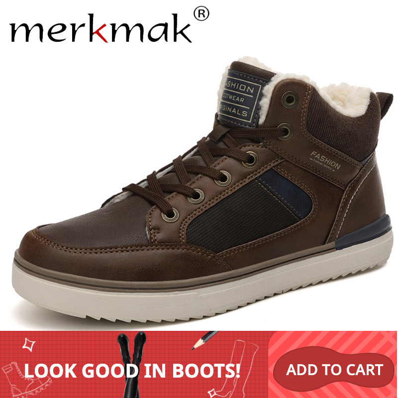 Merkmak Winter Men's Boots Anti-fur Casual Leather Shoe Non-slip Snow Boot Man Plus Velvet Shoe Outdoor Hiking Men Sneakers