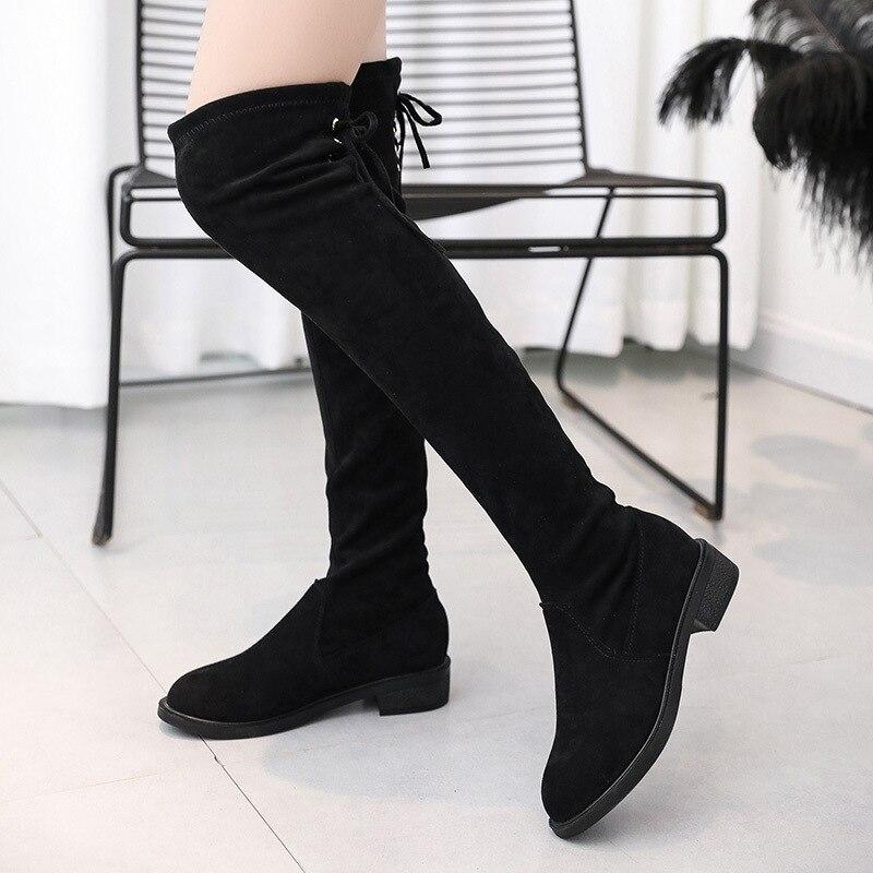 Yarı yüksek topuklu yuvarlak ayak over the diz kadın uzun 2019 sonbahar ve kış artı kadife zayıflama uyluk çizme siyah ve beyaz ile title=