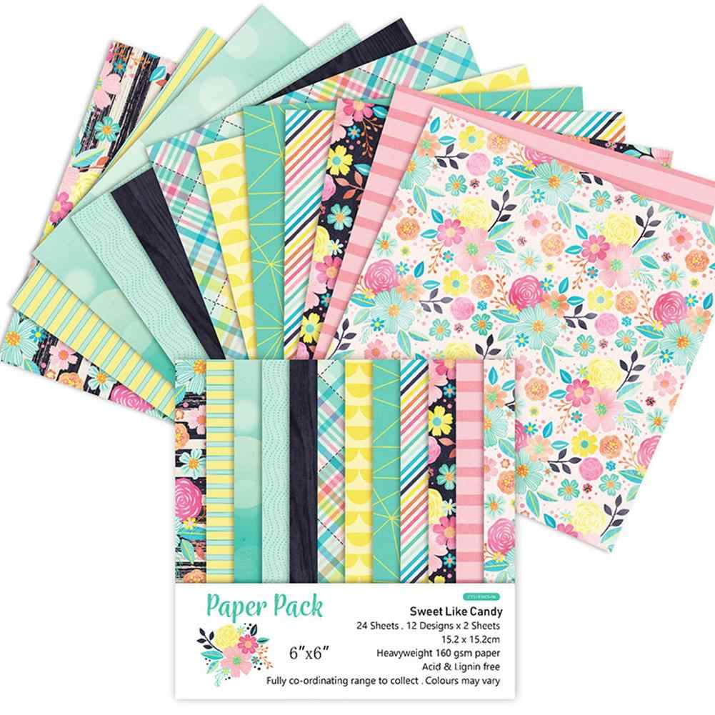 24PCS/Set Paper Craft DIY Photo Album Scrapbook Paper Account Card Making Background Paper 6 Inch Single-Sided Pattern Paper