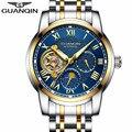 GUANQIN механические наручные часы для мужчин Автоматический турбийон люксовый бренд скелет часы для мужчин полная сталь бизнес часы Relogio