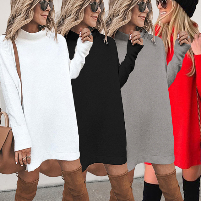 2020 Autumn Sweatshirt Dress Women Warm Winter Dress Women Long Sleeve Casual Loose Dress Ladies Female Vestidos Black 2