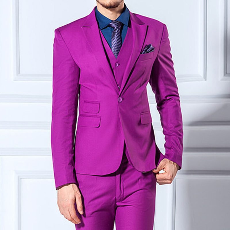 Three Piece Purple Formal Wedding Tuxedos For Groom 2019 New Peaked Lapel Skinny Business Men Suits (Jacket + Pants + Vest)