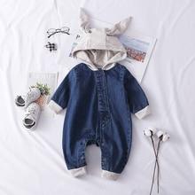 Newborn Baby Romper Spring Autumn Clothes Hooded Denim Jumps