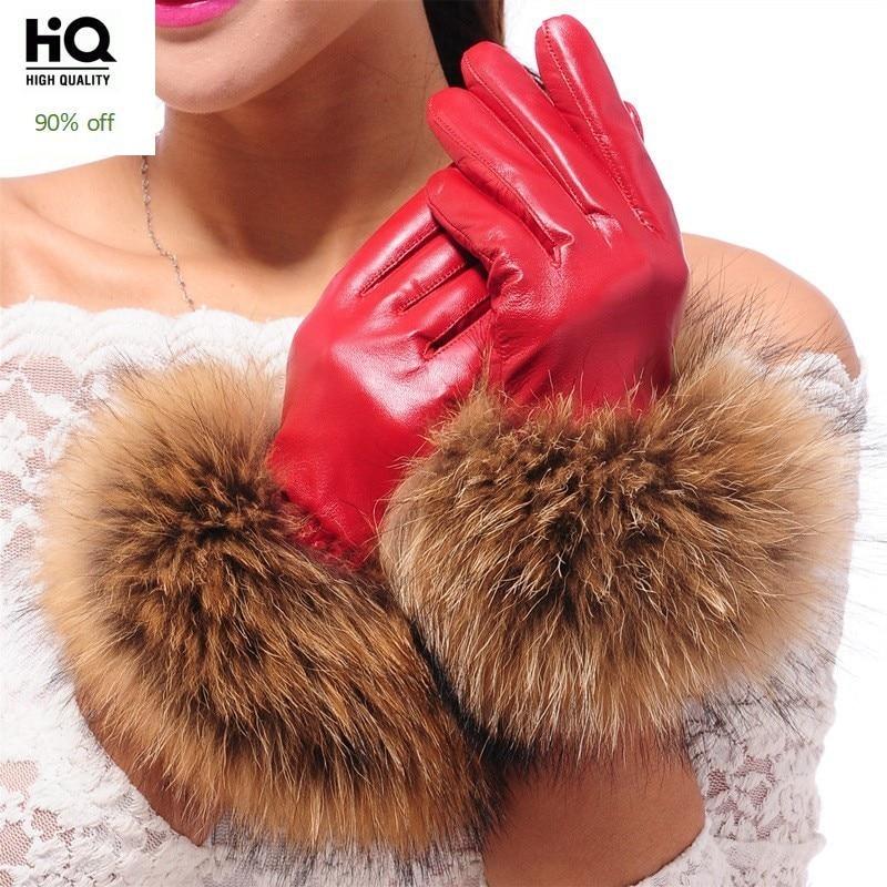 Luxury Women's Winter Sheepskin Touch Screen Gloves Real Raccoon Fur Genuine Leather Glove Female Black Red Warm Fleece Mittens