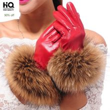 Luxury Women's Winter Sheepskin Touch Screen Gloves Real Raccoon Fur Genuine Leather Glove Female Black Red Warm Fleece Mittens(China)