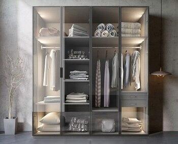 Bespoken Wardrobe with Glass Door Dress Closet Armoire of MDF Fiberboard