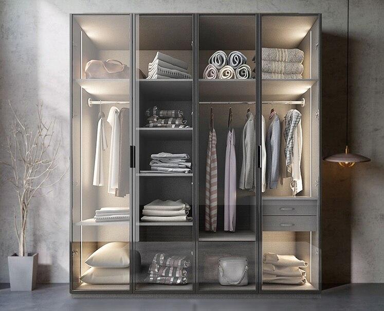 Bespoken Wardrobe with Glass Door Dress font b Closet b font Armoire of MDF Fiberboard