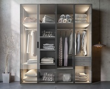 Bespoken Wardrobe with Glass Door / Dress Closet Armoire of MDF Fiberboard