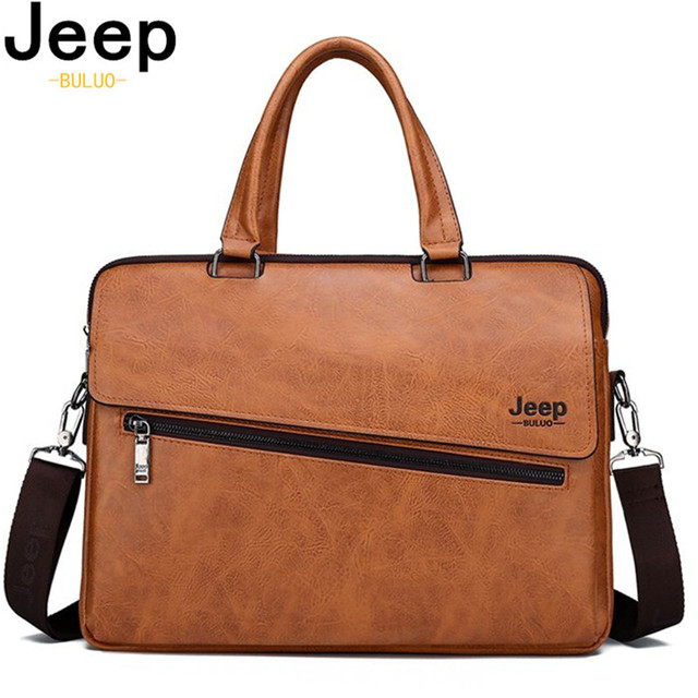 JEEP BULUO 14 Inch Laptop Bag Leather File Hot Messenger Bags Men's Briefcase Office Business Tote Bag