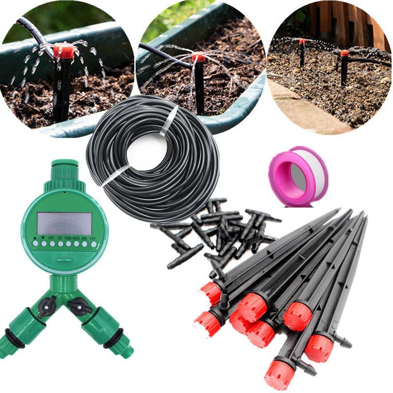 20/25/30m Garden DIY Automatic Watering Micro Drip Irrigation System Garden Self Watering Kits Adjustable Dripper Spray Cooling