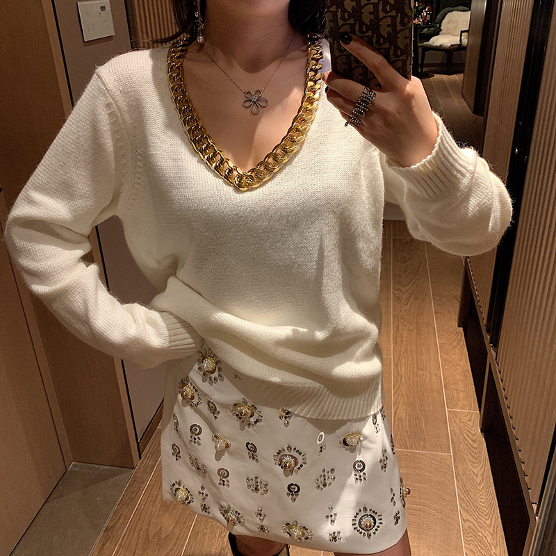 Gold Chain V Neck Loose Pullover Sweater Women Casual Long Sleeve White/black Knitted Sweater Autumn And Winter Knitwear