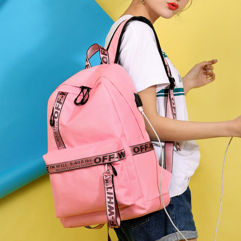 New Casual Shoulder Bag Student Bag USB Charging Socket Nylon Pink Backpack Off Travel White Backpack Girls Boys Laptop Dayback