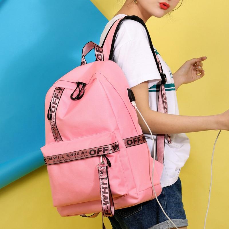 New Casual Shoulder Bag Student Bag USB Charging Socket Nylon Pink Backpack Off Travel White Backpack Girls Boys Laptop Dayback