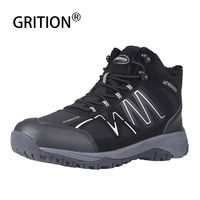 GRITION Men 2019 Waterproof Hiking Shoes Outdoor Warm Mountain Climbing Shoes High top Tactical Hunting Boots Plush Plus Size 46